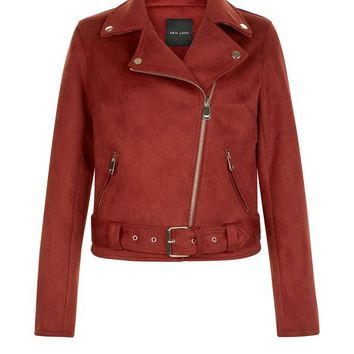 Brown Suedette Biker Jacket