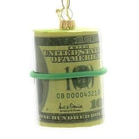 Holiday Ornaments MONEY ROLL Glass Currency Franklin C-Note 90058