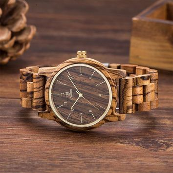 Uwood Wooden Watch 100% Natural Sandal Walnut Wood Wristwatch for Men Women Unisex