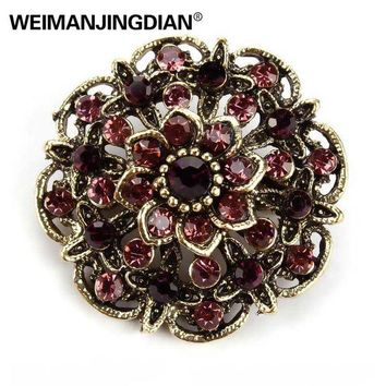 ac DCCKO2Q WEIMANJINGDIAN Brand Vintage Gold Color Plated Crystal Rhinestones Flower Antique Brooch Pins for Women in Assorted