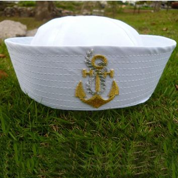 Fashion Adult Seaman Cap Military Hat Men Women Navy Embroider Performing Sailor Hats Unisex White Embroidered Wheat Soldier Hat