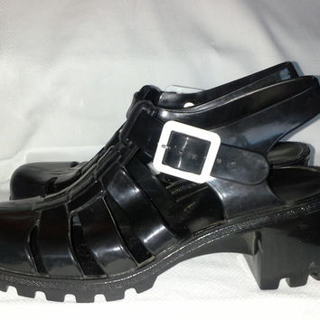 90s JUJU Gladiator Cage Style Black Sandals Jelly Heeled Summer Boho Hippie Beach Slingback Size EUR 38 Made in England