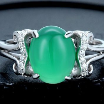 Natural Chrysoprase Stone Sterling Silver Ring