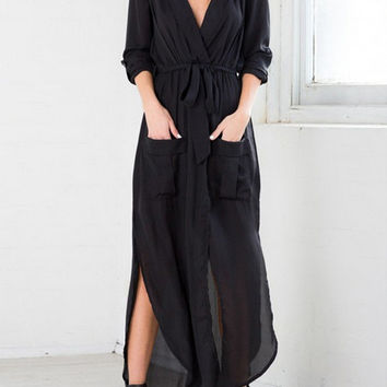 Black Deep V Neck Self-Tie Pockets Chiffon Dress