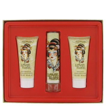 Love & Luck By Christian Audigier Gift Set -- 1.7 Oz Eau De Parfum Spray + 3 Oz Body Lotion + 3 Oz Bath & Shower Gel
