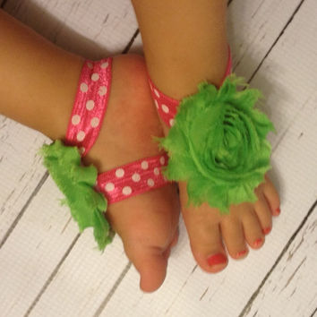 Baby Barefoot Sandals... Pink Polka Dot w/Green Flower Barefoot Sandals