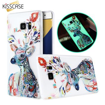 KISSCASE Cartoon Animal Print Luminous Glow In Dark Case For Samsung Galaxy S5 S6 Edge S7 Note 5 J3 J5 J7 A5 A7 2016 Bag C