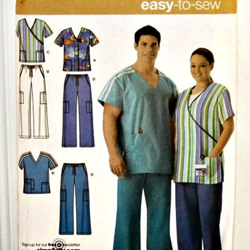 Simplicity 4101 (c. 2006) Women's and Men's Scrub Tops and Pants in Sizes XL, XXL and XXXL, Nurses, Technicians, Medical Professionals