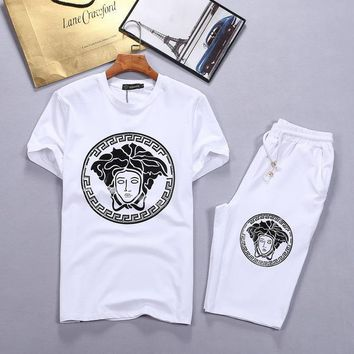 Versace Shirt Top Tee Shorts Set Two-Piece-3