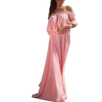 Summer Women Long  Maxi Dress Solid Chiffon Off Shoulder Sexy  Elegant Bohemian Beach Vestidos Dress