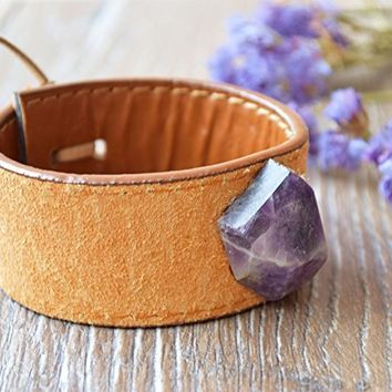 Amethyst leather cuff bracelet Boho