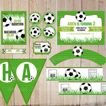 Soccer birthday party kit Printable party package / Soccer themed boys birthday party decoration / Sport themed customized party supplies