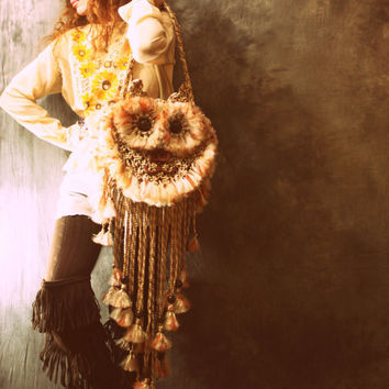 Vintage Retro 60s Look Macrame Hippie Woodstock Kitty Cat Handbag Purse Bag Made to Order OOAK Handmade