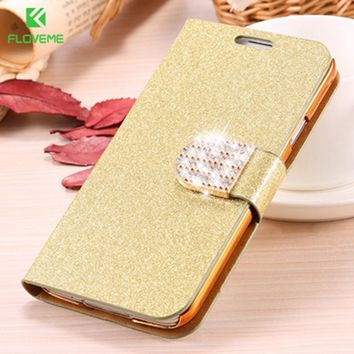 Bling Diamond Glitter Leather Case Cover For Samsung Galaxy S5 S6 S6 Edge S8 Card Slot Bag