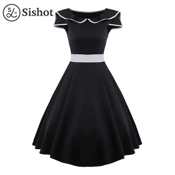 Women vintage dresses autumn black color block elegant peter pan collar a line mid calf short sleeve retro dress