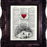 Hedgehog in Love. Dictionary art print. Vintage Art Print on Book Page. Hedgehog in love. Art print on dictionary page.  Code:352
