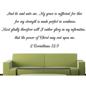 Scripture Wall Decal of 2 Corinthians 12:9. Wall Scripture of Christian Bible Verse