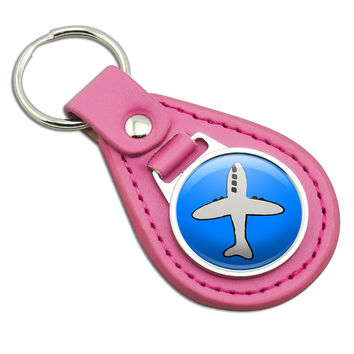 Plane Airplane Travel Flying Pink Leather Keychain