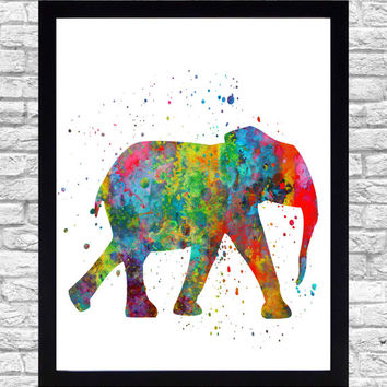 Wall Art Print Watercolor Printable Art, Elephant Wall Art Download, Elephant Wall Decor, Safari Animals Watercolor Paint Splatter Art