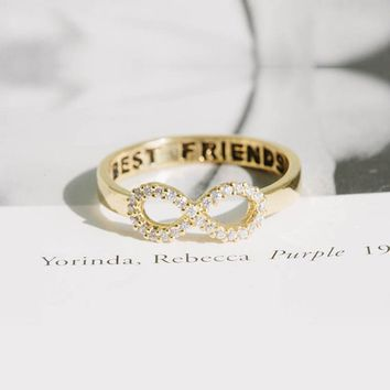 SMJEL Fashion Best Friends Infinity Rings Personalized Ring for Women Crystal Eternity Wedding Bridesmaids Jewelry R023