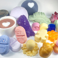 Bath and Body Surprise Box - soap, bath bombs, solid lotion, candles, and more. Random, mystery, odds and ends, variety pack