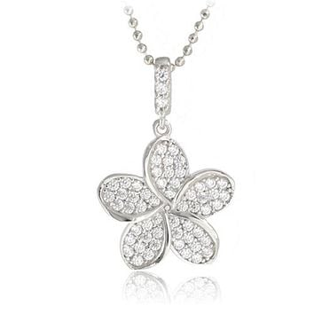 14K White Gold Plumeria Pendant with Pave Clear CZ Set