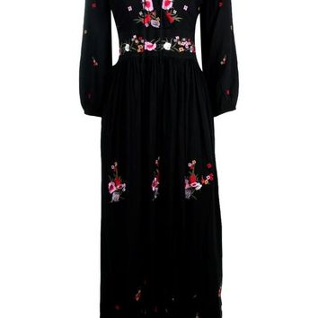 Petite Evelyn Embroidered Maxi Dress | Boohoo