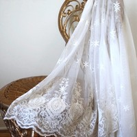 EMBROIDERED SHEER THROW Ecru Embroidered Lace Coverlet custom dyed colors