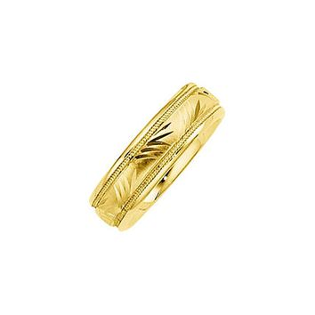 6mm Comfort Fit Engraved Design Band in 14k Yellow Gold