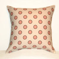 "Pillow Covers 18"" Set of Two - White with Pink Polka Dots Pattern"