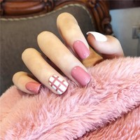 24pcs/set Fake Nails Lattice Grid Design Artificial French Multiple Colors False Nails Tips Press on Nails with Glue Sticker