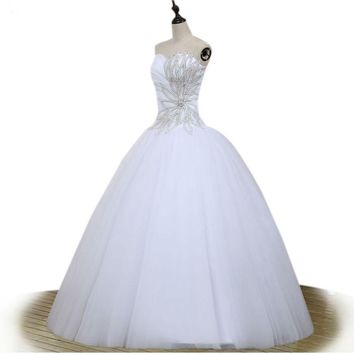 Arrival Fashionable Ball Gown Tulle Beaded crystal Wedding Dresses real Bridal Gown