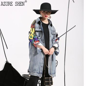 [AZURE SHEN] 2018 Spring Fashion Personality Women Coat Pachwork Asymmetric Length Pattern Spliced Button Windbreaker W0145