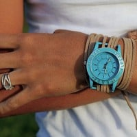 Tan Suede Bracelet Watch with Turquoise Inspirational and Interchangeable Face