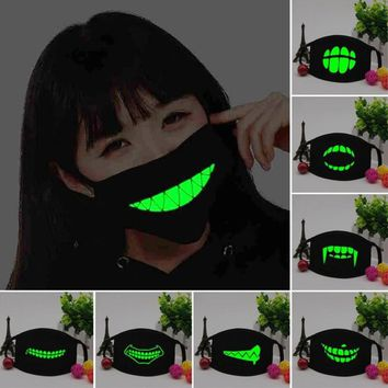 Creative Black Mouth Mask Light dust Luminous keep warm Cool Unisex Mask Noctilucent Anti Dust