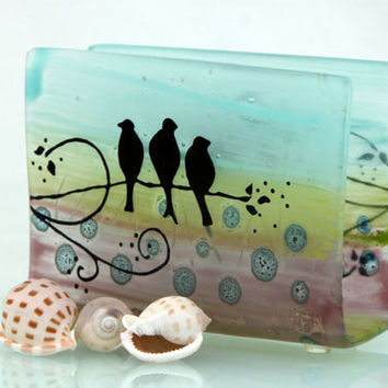 Fused Glass napkin holder ,silhouette birds  landscape .