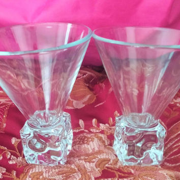 Two Martini Cocktail Melting Ice Cube Stem Bar Glasses