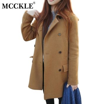 MCCKLE Women's Wool Blends Coats Winter Cotton Padded Warm Woolen Coat Ladies Thicken Long Coat Jacket Outwear For Women
