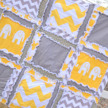 RAG QUILT, Elephant, Chevron, and Polka Dot, Baby Blanket in Mustard Yellow and Gray Made to Order