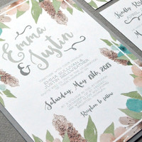 Watercolor Wedding Invitation Suite, Floral Wedding Invitations, Gray Teal and Blush Wedding Pocket Invitation Set, Rustic Wedding Invites
