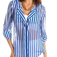 Striped Roll-Cuff Utility Blouse: Charlotte Russe