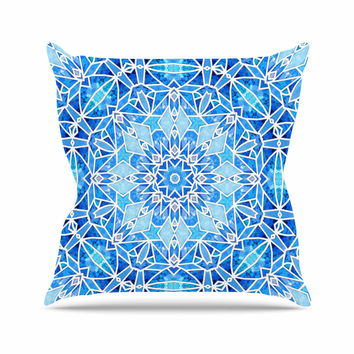 "Art Love Passion ""Star Snowflake"" Blue Aqua Outdoor Throw Pillow"