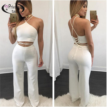 Most Popular 2 pieces Set White Women Rompers Off the Shoulder Halter High Waist Elegant Jumpsuit Long Club Playsuit Black
