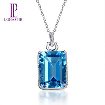 Lohaspie Solid 14K White Gold 13.25ct Natural Swiss Blue Topaz & Diamond Pendant & Necklace For Women's Gemstone Fine Jewelry