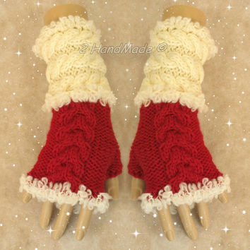 Santa Fingerless Chunky Knitting Cable Hand Warmers Christmas Xmas Soft Sheep Merino Mohair wool Red of White  Size M-L