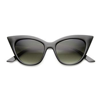 Women's High Pointed Oval 60's Era Mod Fashion Cateye Sunglasses with UV400 Protected Gradient Lens