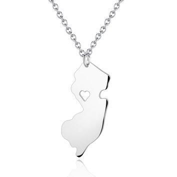 Personalized New Jersey State Necklace -  New Jersey Map Pendant With a Heart Cut Out - Map Jewelry