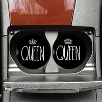Queen Car Coaster, Gift for Wife, Gift for her, Funny Car Coaster, Best Friend Gift, Car Accessories for Women, Car Parts (CAR00077)
