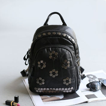 Leather Backpack England Style Stylish Rivet Casual Travel Bags [4915798724]