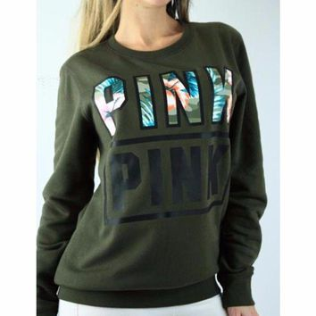 PINK Victoria's Secret Women Print Round Neck Pullover Sweater T Shirt Top Blouse